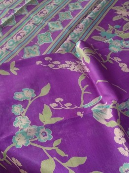 Digital Print Chinon Sarees With Zari Work-VIOLET PRINT