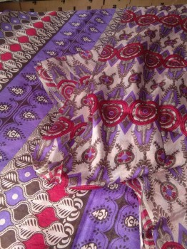 Digital Print Chinon Sarees With Zari Work-VIOLET PINK