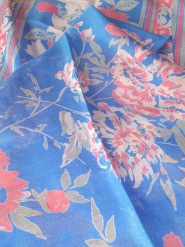 Digital Print Chinon Sarees With Zari Work-LIGHT BLUE