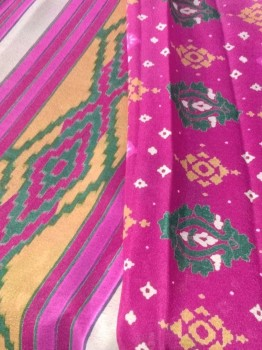 Digital Print Chinon Sarees With Zari Work-DEEP PINK