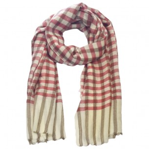 White Stole with Checked Design [Gents]