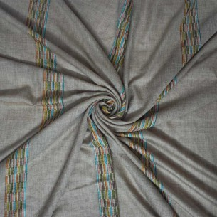 NATURAL TOOSH COLOUR PASHMINA SHAWL WITH MULTICOLOUR STRIPED DESIGN [ LADIES]